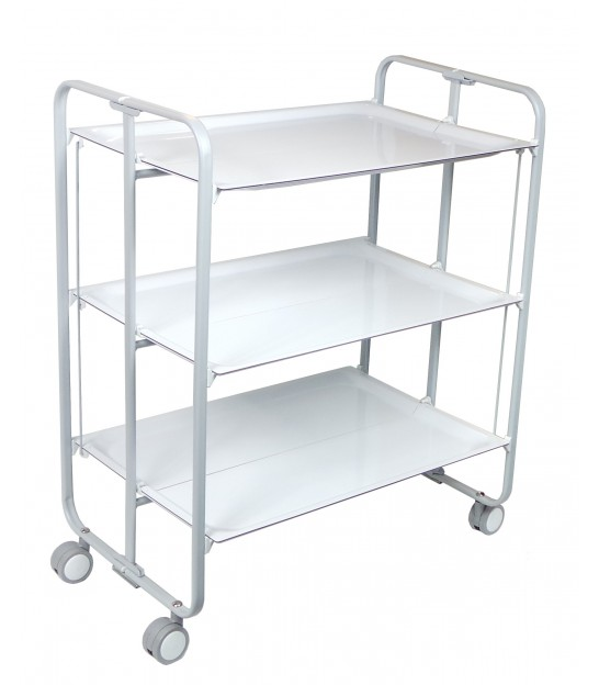 Kitchen trolley white metal 4 tiers - Table desserte pliante ...