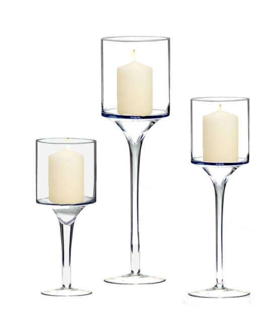 Glass candle jars on base transparent set of 3
