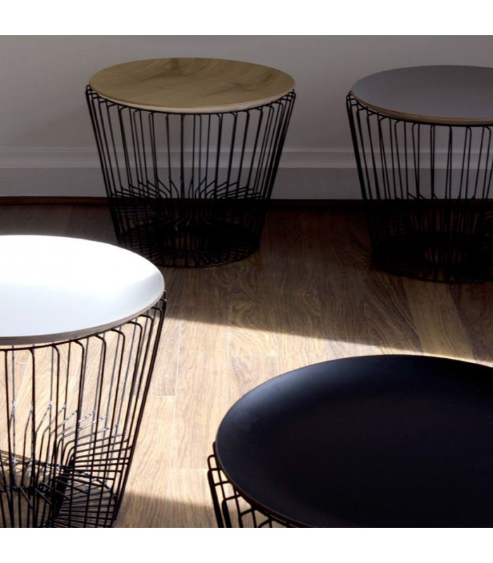 Table basse porte revues design blanc coming b for Table basse panier