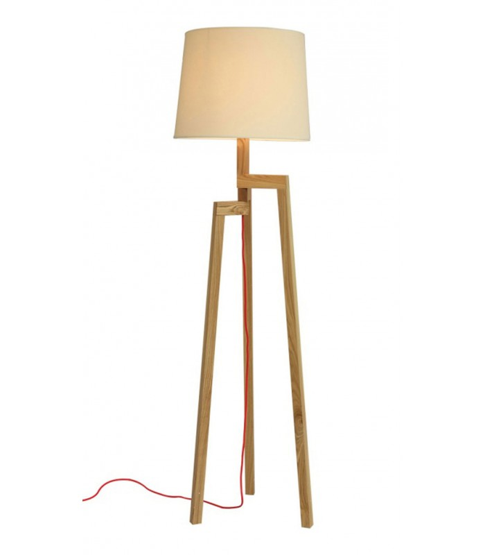 lampadaire design tr pied en bois et abat jour beige. Black Bedroom Furniture Sets. Home Design Ideas