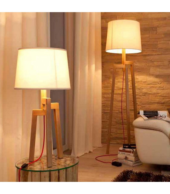 lampadaire design tr pied en bois et abat jour beige nature. Black Bedroom Furniture Sets. Home Design Ideas