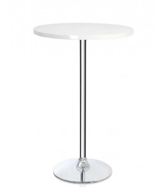 Table Haute de Bar Ronde Design Bois Blanc