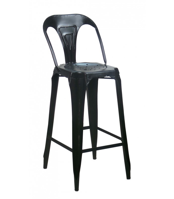tabouret de bar avec dossier en acier style industriel noir. Black Bedroom Furniture Sets. Home Design Ideas
