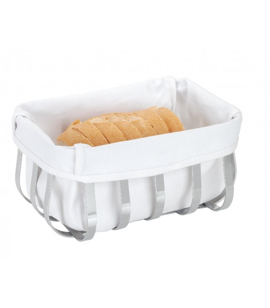 Rectangular Bread Basket in Chromed Metal and Interior in White Cotton