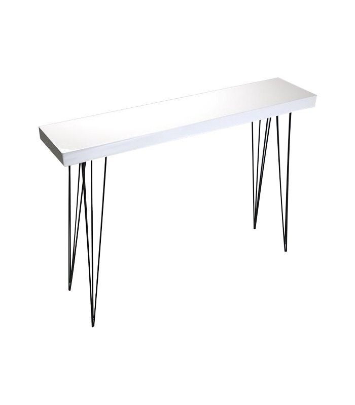 table d 39 entr e console en bois laqu blanc et m tal noir dallas. Black Bedroom Furniture Sets. Home Design Ideas