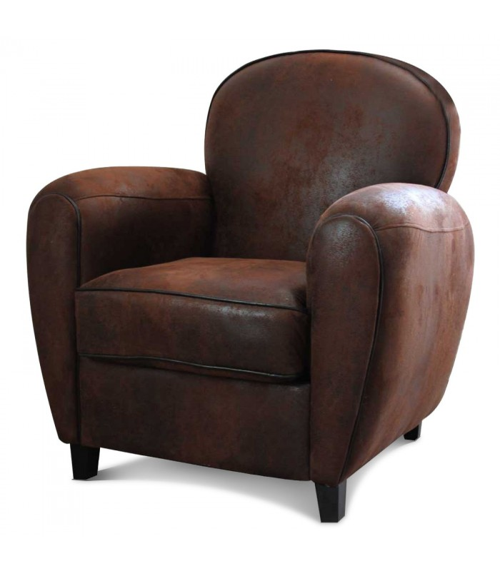 fauteuil club aspect cuir vieilli marron. Black Bedroom Furniture Sets. Home Design Ideas