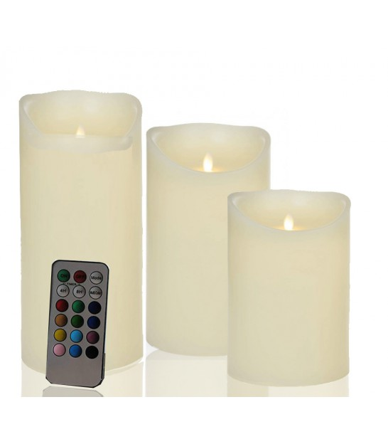 Set of 3 multicolour LED Candles made of real wax with a remote control