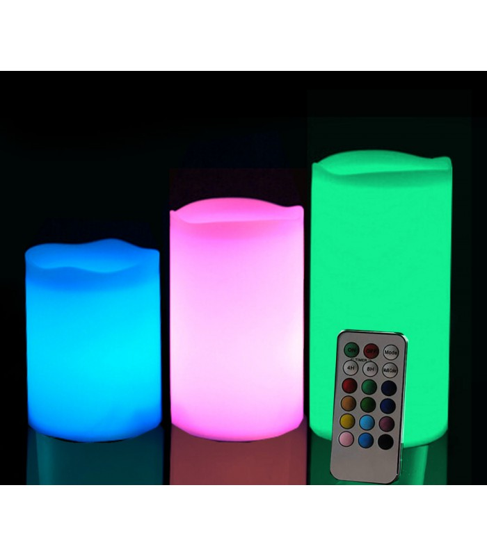 set of 3 multicolour led made of real wax with a remote control. Black Bedroom Furniture Sets. Home Design Ideas