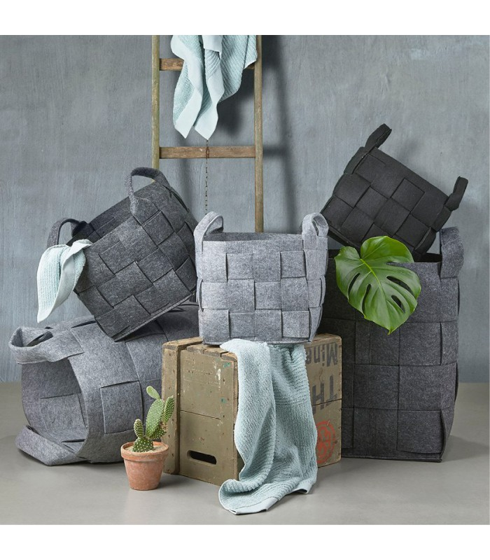 panier linge en feutre gris fonc haut 28cm. Black Bedroom Furniture Sets. Home Design Ideas