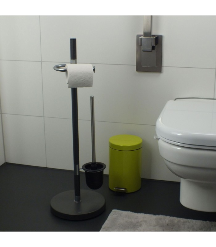 set wc d rouleur papier wc avec brosse gris anthracite. Black Bedroom Furniture Sets. Home Design Ideas