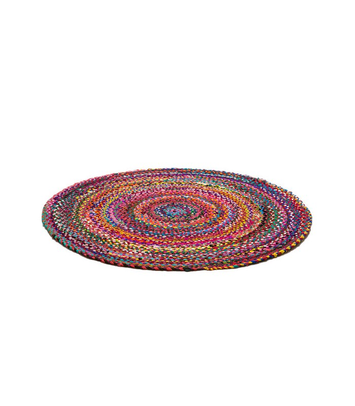 tapis multicolore design rond en tissus de coton m lang diam 100cm. Black Bedroom Furniture Sets. Home Design Ideas