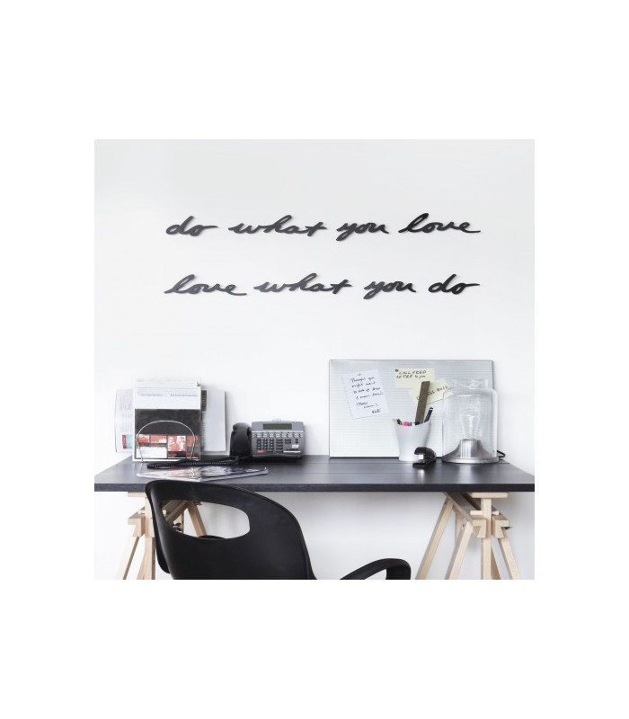 D coration murale en m tal noir love what you do 39 mantra for Decoration murale or