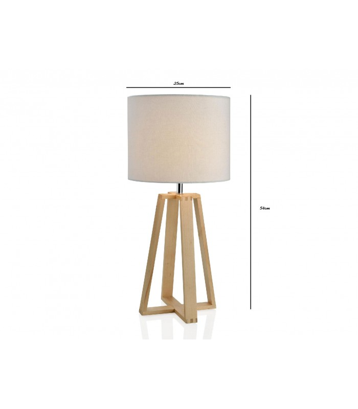 lampe poser triangulaire en bois et abat jour beige. Black Bedroom Furniture Sets. Home Design Ideas