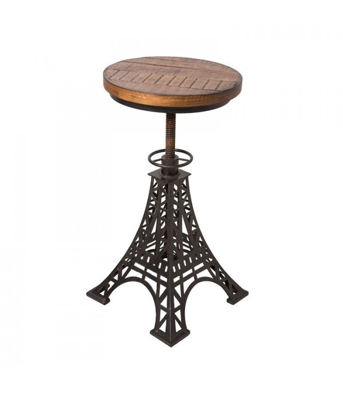 tabouret de bar r glable en bois et m tal noir eiffel. Black Bedroom Furniture Sets. Home Design Ideas