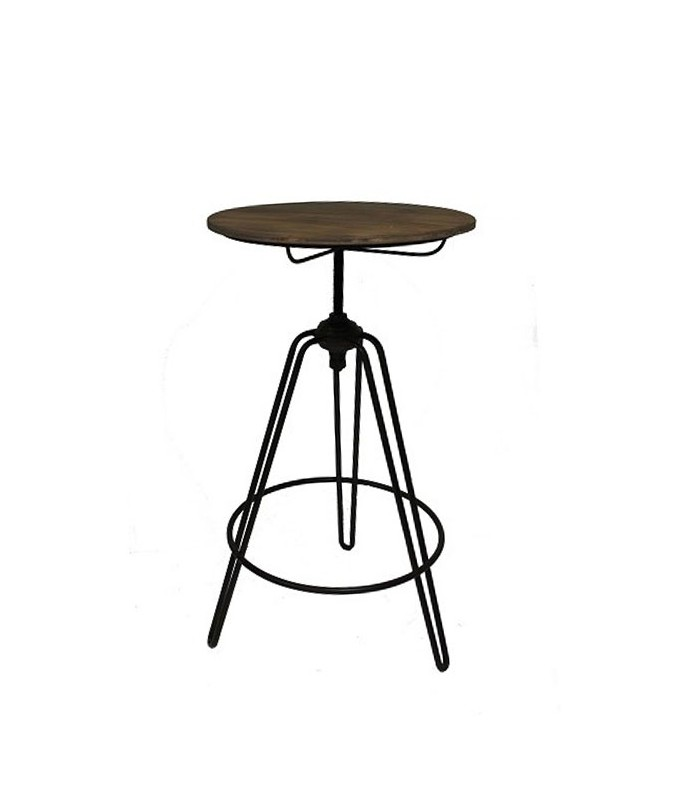 Table haute de bar style usine en bois et m tal noir for Table de bar haute but