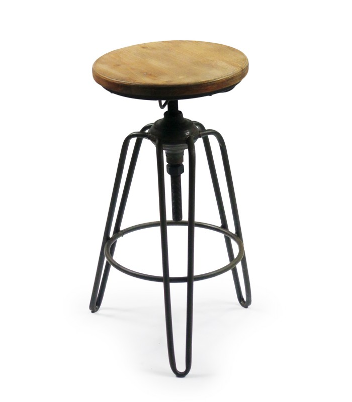 tabouret de bar style tabouret d 39 usine en m tal noir et bois. Black Bedroom Furniture Sets. Home Design Ideas
