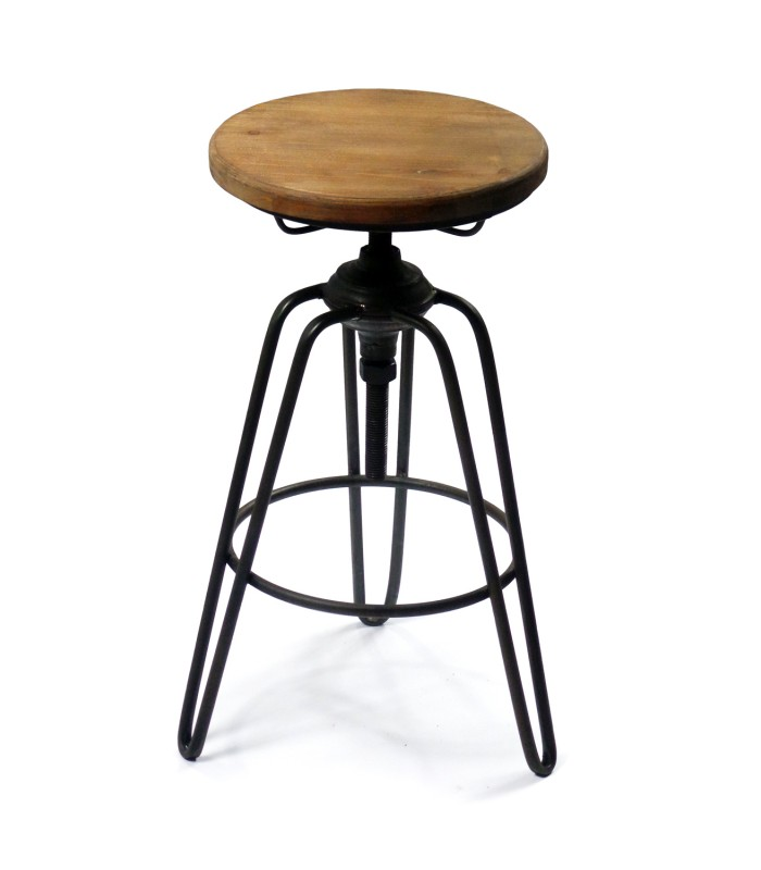 tabouret de bar style tabouret d 39 usine en m tal noir et. Black Bedroom Furniture Sets. Home Design Ideas