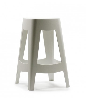 Tabouret de bar ext rieur design empilable en plastique blanc - Tabouret plastique empilable ...