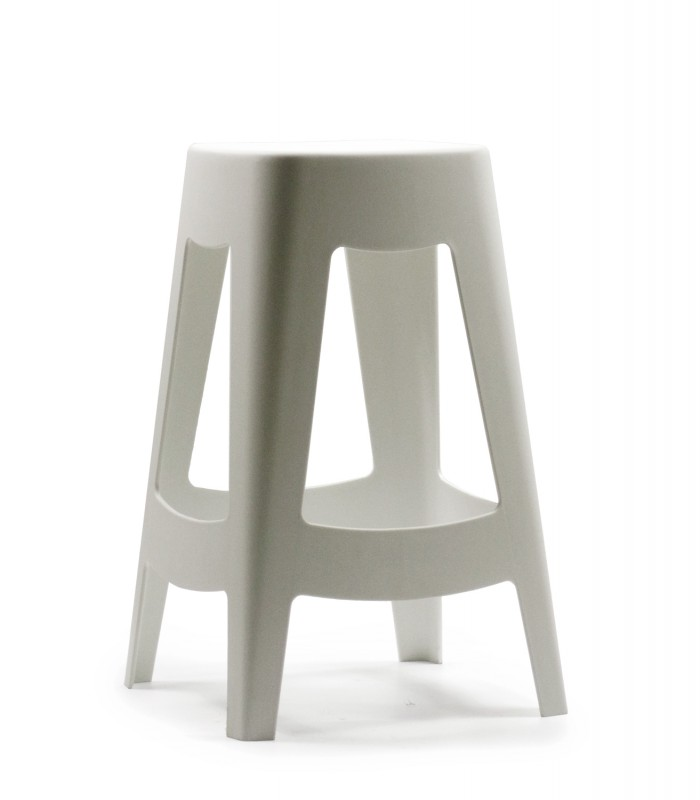 Tabouret de bar ext rieur design empilable en plastique blanc wadiga - Tabouret de bar plastique ...