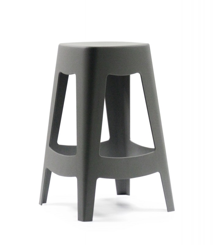 Tabouret de bar ext rieur design empilable en plastique gris wadiga - Tabouret bar plastique ...
