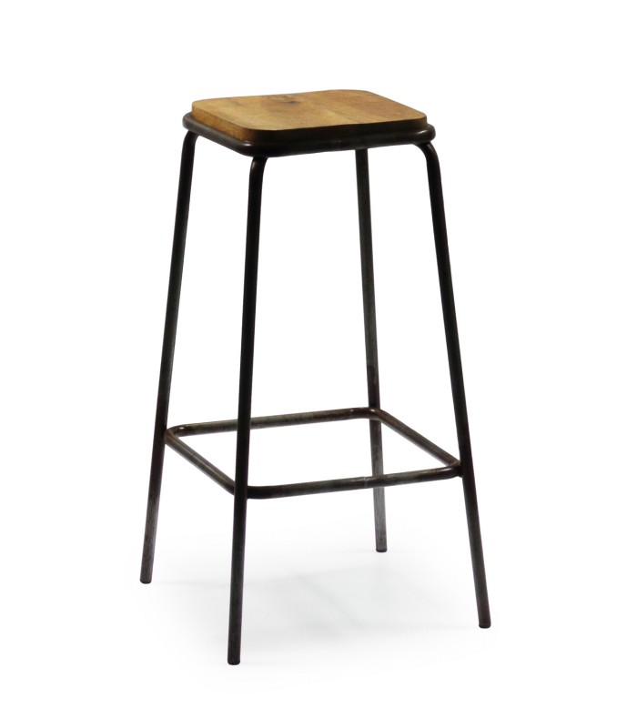 tabouret de bar carr en m tal noir et bois. Black Bedroom Furniture Sets. Home Design Ideas