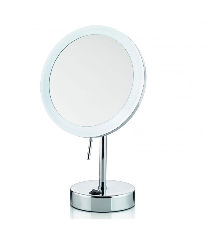 miroir grossissant x 5 lumineux led rond sur pied orientable. Black Bedroom Furniture Sets. Home Design Ideas