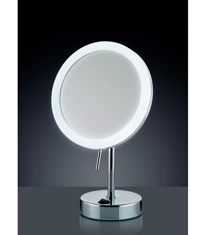 miroir grossissant x 5 lumineux led rond sur pied. Black Bedroom Furniture Sets. Home Design Ideas
