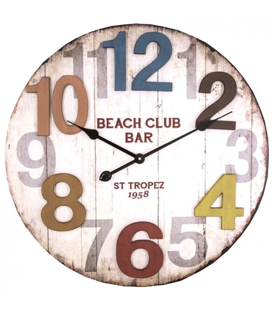 Horloge Multicolore Murale Ronde St Tropez Beach Club Bar