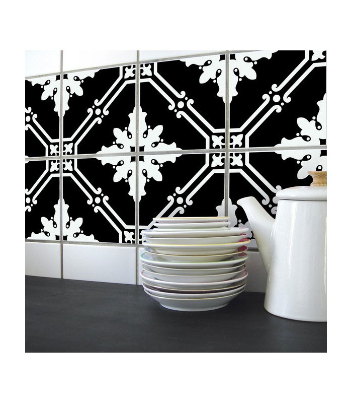 stickers pour carrelage de cuisine ou salle e bain en noir et blanc. Black Bedroom Furniture Sets. Home Design Ideas
