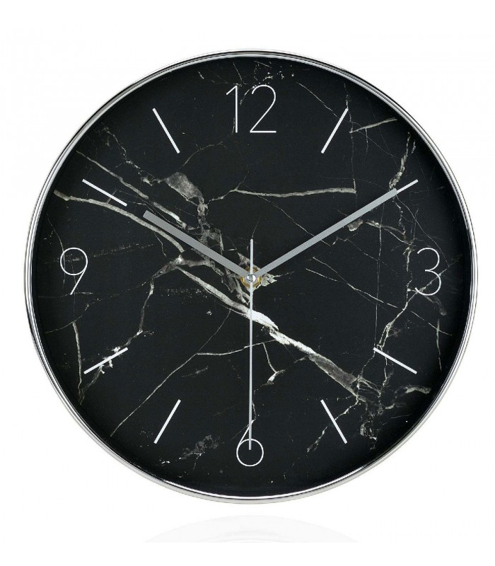horloge murale ronde noire effet marbre diam 30cm. Black Bedroom Furniture Sets. Home Design Ideas
