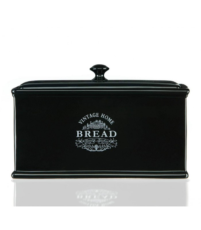 vintage home bread box black ceramic. Black Bedroom Furniture Sets. Home Design Ideas