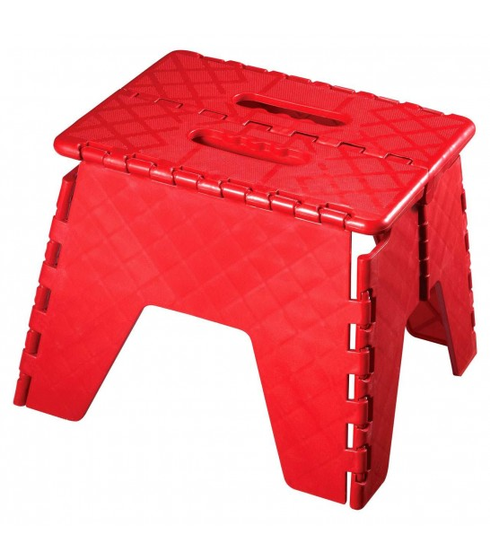 Escabeau Marchepied Pliable en Plastique Rouge