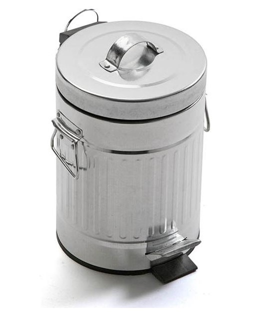 Grey Metal Bathroom Bin -3L