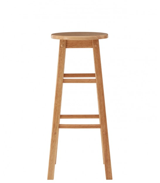 Natural Hevea Wood Tall Bar Stool