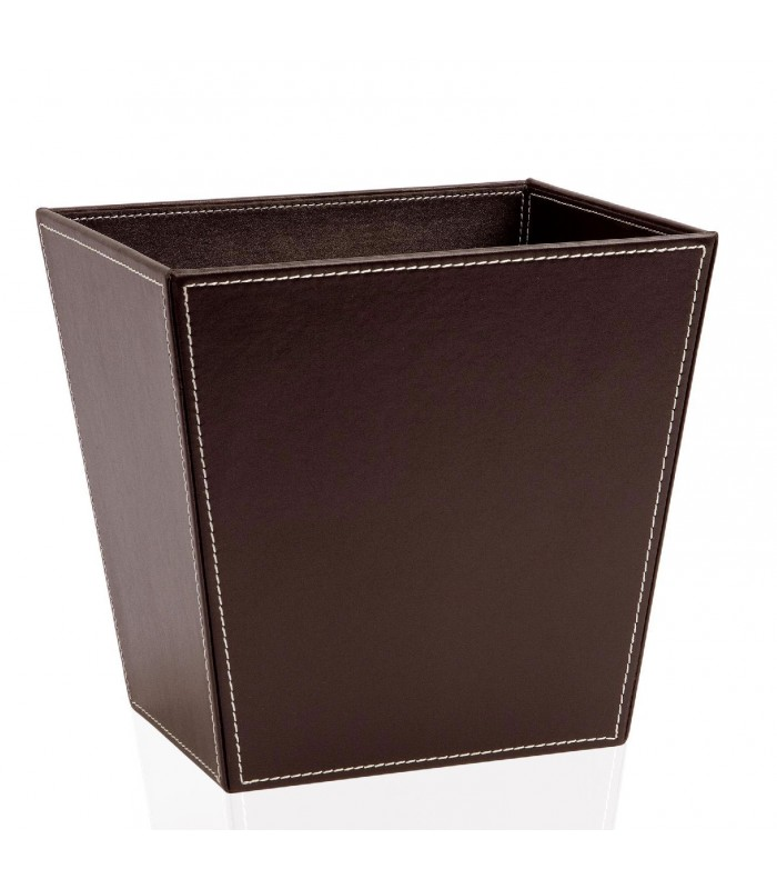 corbeille papier de bureau en cuir marron. Black Bedroom Furniture Sets. Home Design Ideas