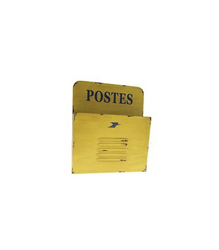 Range courrier mural en m tal jaune postes for Range courrier mural metal