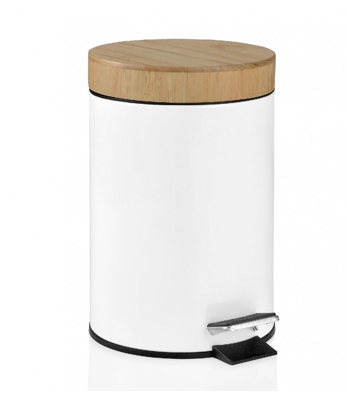 Wood and white metal bathroom bin for Poubelle salle de bain bois