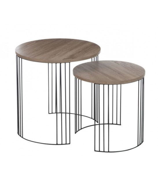 set de 2 tables basse design rondes en bois et chrome. Black Bedroom Furniture Sets. Home Design Ideas
