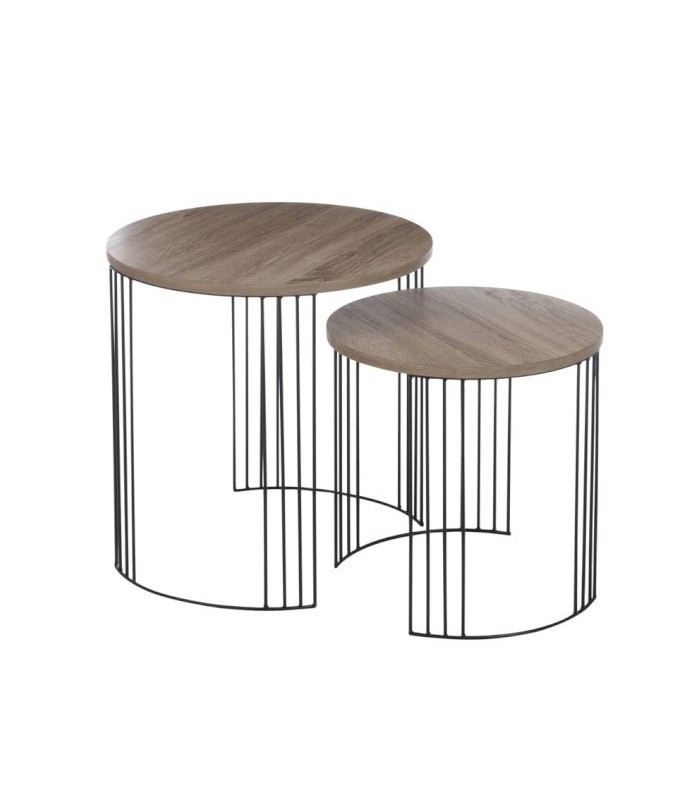 Set de 2 tables basses gigognes en bois et m tal noir design for Tables gigognes en bois