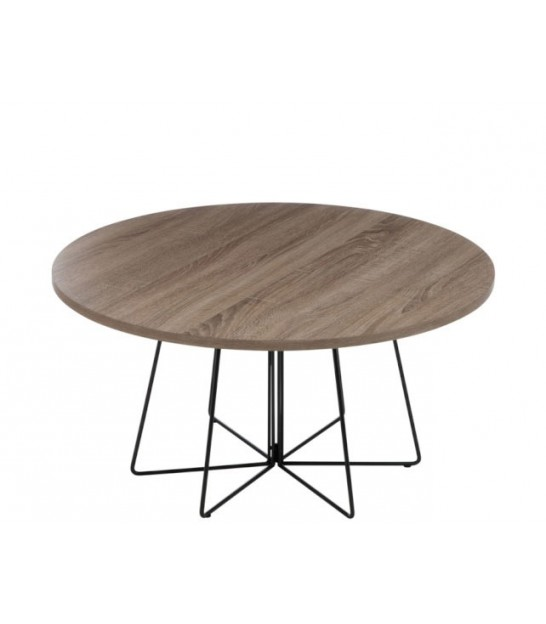 Set of 2 round design coffee table made of wood and chrome for Table exterieur design aluminium