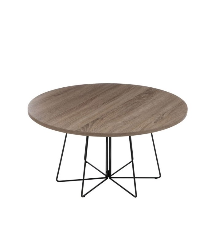 Round design coffee table wood and black metal for Table basse round