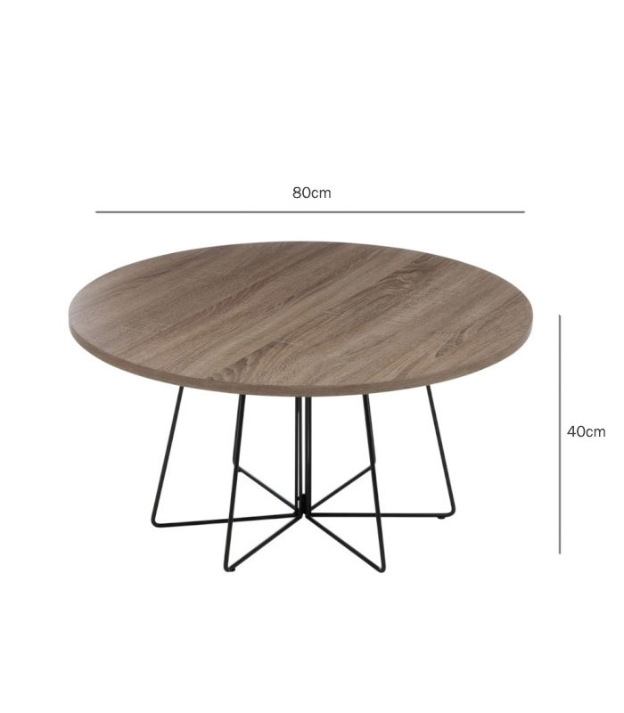 Round design coffee table wood and black metal for Table ronde metal