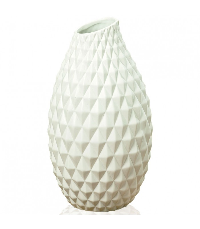 vase design origami en gr s blanc hauteur 30cm. Black Bedroom Furniture Sets. Home Design Ideas