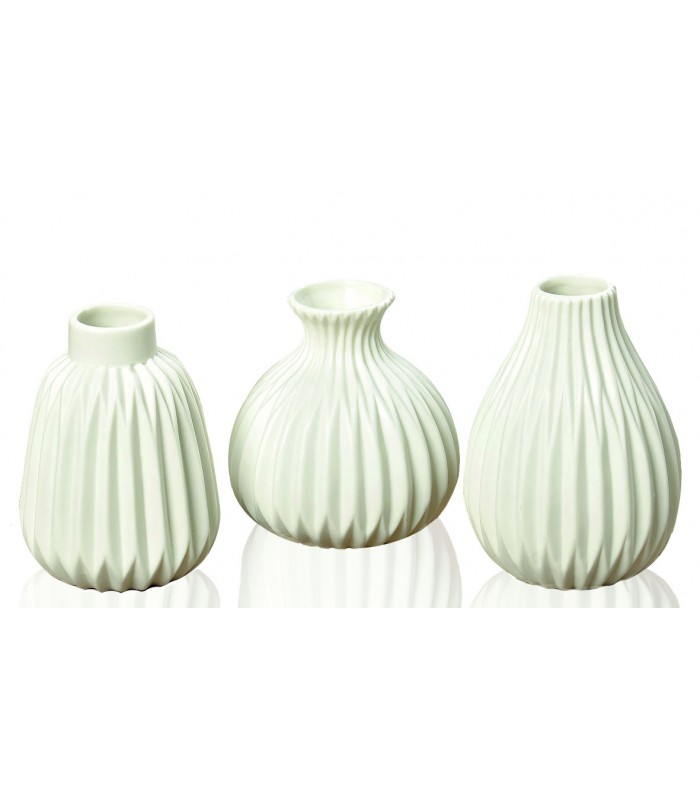 set de 3 petits vases design en porcelaine blanche. Black Bedroom Furniture Sets. Home Design Ideas
