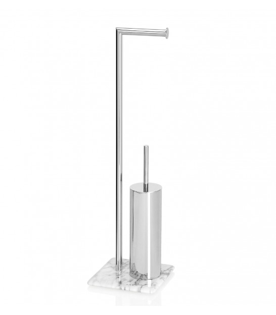 Toilet Paper Holder + Toilet Brush Inox and Marble