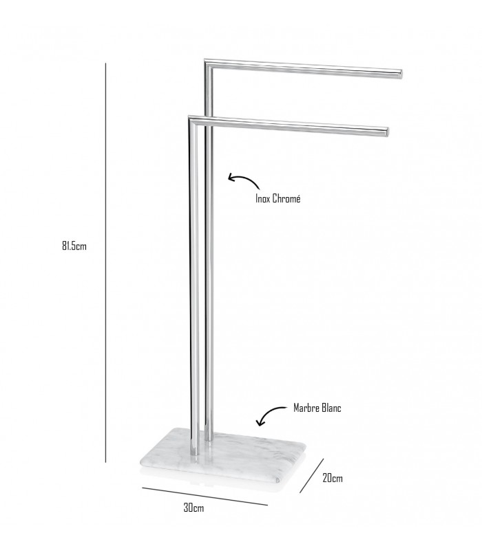 Towel stand inox and marble for Bathroom accessories stand