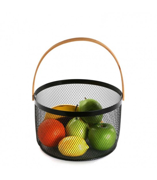 Fruit Basket Metal Red and Wood