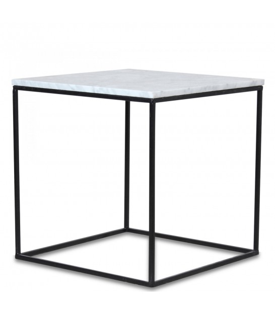 Black Marble And Silver Steel Square Coffee Table: Coffee Table Black Metal And Mango Wood