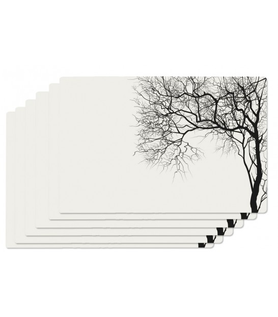 Set de Table Vinyle Noir et Blanc Arbre - Set de 6