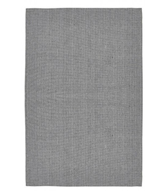Tea Towel Grey and White Cotton and Linen